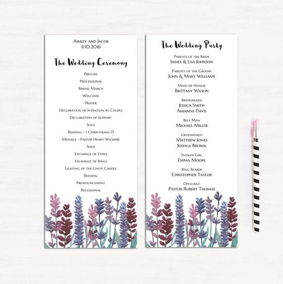 Lavendel Hochzeit Vorlage moderne Zeremonie Karte druckbare