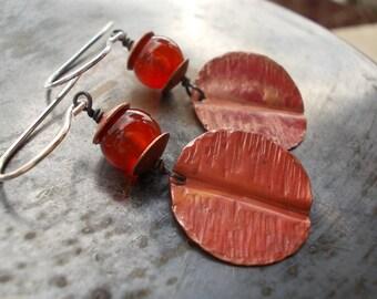 Carnelian raw copper disc sterling silver earrings, handmade jewelry textured hammered organic, long dangle earring, handmade rustic jewelry