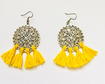 Boheme Silver Tassel Earrings, Tribal Silver Drop Earrings, Yellow Tassel Earrings