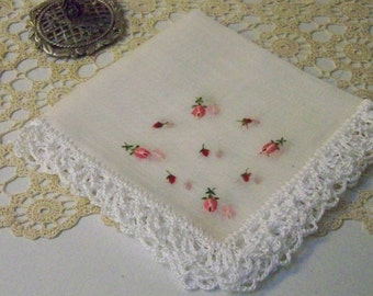 Embroidered Handkerchief, Hanky, Hankie, Ladies, Hand Crochet, Lace, Lacy, Floral, Roses, Delicate, Sheer, Ready to ship