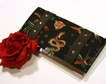 Black Tattoo Wallet with Your Choice of Vinyl Trim - MADE TO ORDER