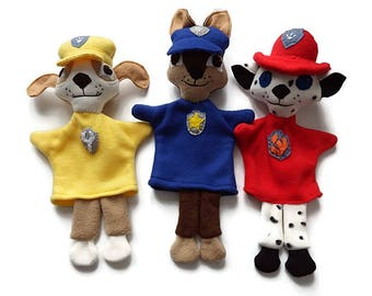 Paw Patrol Trio Hand Puppets/ Custom Made Story Character Puppets/