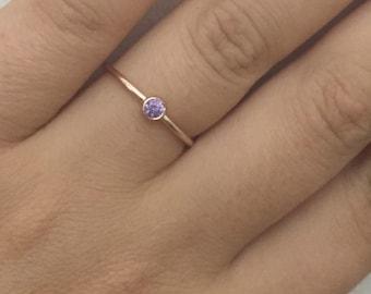 Gold ring, Birthstone ring, Stacking Ring, Personalized  Gold Ring, Dainty birthstone Ring, Simple stacking ring