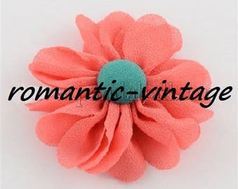 5 flowers in coral and green chiffon 38 * 39mm approx