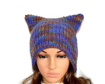 Knit Hat, Cat Ear Hat, Unisex cat hat,Geek,Cat beanie,Cat Ears Beanie,Pussyhat,,Womens cat hat,Pink cat beanie,,Cat lovers gift , Winter hat