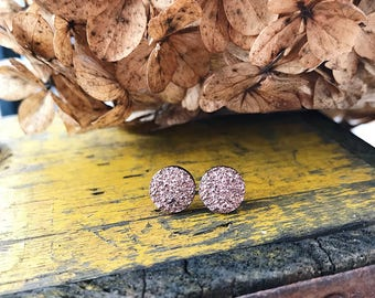 Rose Druzy Stud Earrings