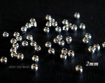Silver Beads, 50 Pcs-2mm Bali Sterling Silver Seamless Round Spacer Beads
