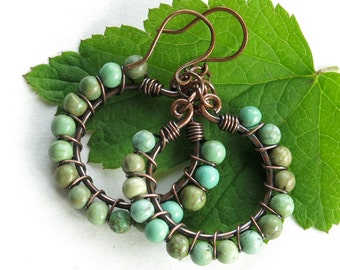 Turquoise hoop earrings - green stone beads copper wire wrapped