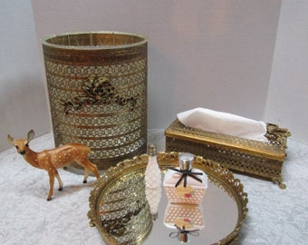 Vintage Florentine Gold Metal Filigree Waste Can / Tissue Box Cover / Mirror Tray, 3 Piece Set, Shabby Chic, Royalty, Bridal Boudoir Bedroom