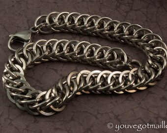 Mens Industrial Stainless Steel Chainmail Bracelet