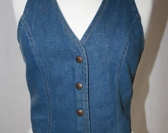 Vintage 1970's GWG Scrubbies Woman's Vest, Perfectly faded Boho Hippy Denim.