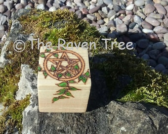 Handcrafted Wood Box - Pentagram - Pyrography
