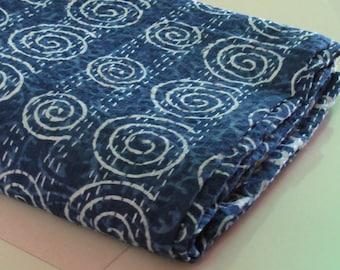 Indigo Handmade Kantha Quilt Indian King Size Indigo King Size Quilt,Handblock Handmade blockprint kantha quilt,blanket,Quilts