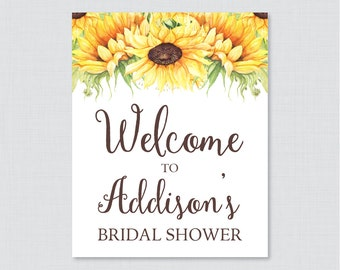 Sunflower Bridal Shower Welcome Sign Printable - Rustic Bridal Shower Customizable Sign - Yellow Sunflower Bridal Shower Decor 0016-A