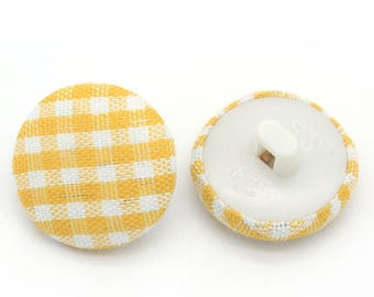 Fabric gingham yellow 14mm button