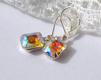Aurora Borealis Rhinestone earrings / rainbow rhinestone / Mothers day gift / leverback / Hollywood / estate style / vintage style / bridal
