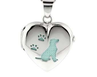 Silver Heart Pet Locket Dog and Paw Prints, Blue