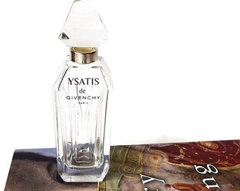 Givenchy YSATIS Perfume Bottle/ Vintage Empty Perfume Bottle with Glass Stopper/ Paris Boudoir Decor