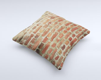 Brick Wall ink-Fuzed Decorative Throw Pillow