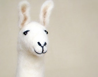 Laura - Felt Llama, Art Marionette Puppet Handmade toy Stuffed Toy animal plush Alpaca. gift for kids baby shower gift. brown cream white.