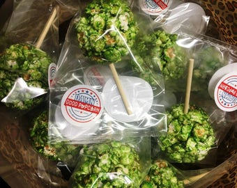 24 Christmas Green Old Fashioned Popcorn Balls on a Stick