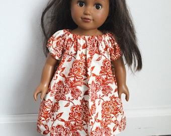American Girl Doll Dress, 18 inch Doll Dress, Floral Doll Dress, Orange and White Floral Doll Dress