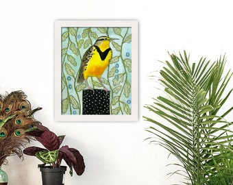 Home Decor, Wall Art, Bird Art, Bird Painting, Bird Home Decor, Orginial Artwork, Wall Decor, Bird Print, Meadowlark, Nature Art, Animal