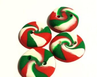 4 Peppermint Buttons, Christmas Buttons, Custom Buttons, Clay Buttons, Candy Buttons, Red Buttons, Green Buttons, Scarf Button Supplies