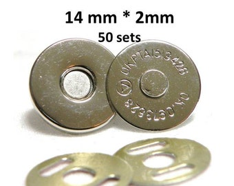 Extra Thin Magnetic Snaps 50 sets 14mm 2 mm Nickel Plated