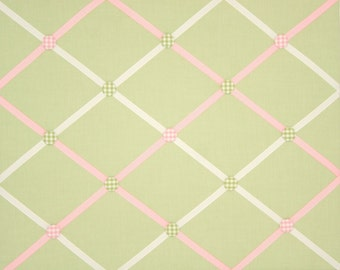 Green Pink White Gingham French Memo Board