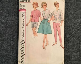 Vintage 1960s Simplicty Printed Pattern for Pants, Blouse and Skirt - Size 20 Bust 42