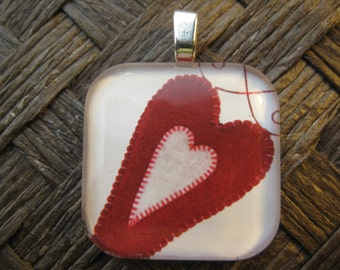 Flying Heart - glass pendant and chain