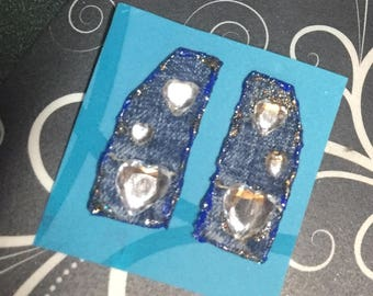 Lucy in the Sky with faux diamond hearts shaped bling, pierced  #P1