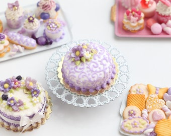 MTO-Lilac Arabesque Swirls Cake Decorated with Flowers - Miniature Food in 12th Scale for Dollhouse