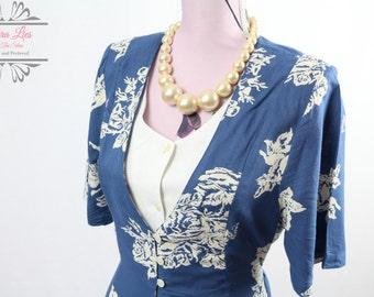 Vintage 90s Blue White Layered Shirt Dress Size M