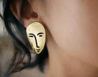 hand-cut brass earrings, matisse drawing earrings, unique stud earrings, face brass earrings