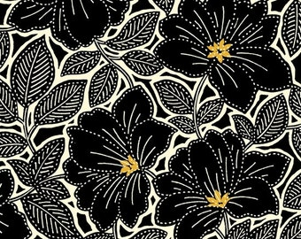 Maya from Quilting Treasures - Full or Half Yard Black Topaz Floral - Black Gold and Cream Flowers