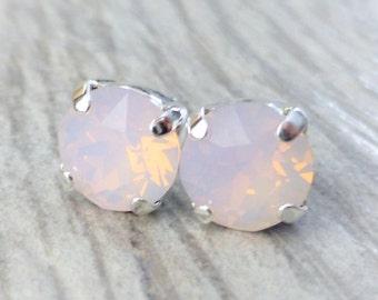 Swarovski Stud Earrings, Rose Pink Opal Crystal Rhinestone Stud Earrings, Post Earrings, Silver Round Crystal Studs, Bridesmaid Gifts