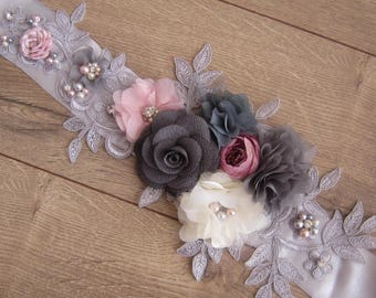 Grey Lace Flower sash/ sash belt, wedding belt, pearl and rose belt