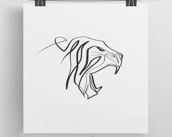 Tiger Art Print, Minimal Art Print, Cat Art Print, Single Line Art, Tiger  Art, Unique Cat Gift, Gift For Mom, Gift For Dad, Tiger Line Art