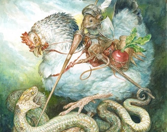 George (print) mouse knight, chicken, dragon, serpent, snake, radish, artwork, illustration