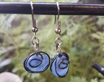 Blue sea glass earrings with black wire wrap
