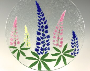 Lupine Suncatcher, Fused Glass, Blue Flowers, Lupines, Flower Design, Floral, Window Hanging