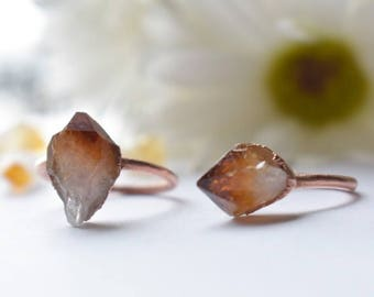 Raw citrine ring | rustic copper ring | November gemstone citrine ring | November birthstone | birthstone ring