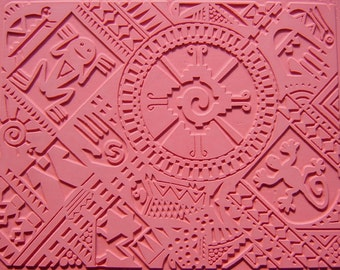 Intaglio Pattern Mayan Mayhem, Flexible Rubber Stamp Mat, Hand Drawn Image with Angular Symmetry, Deep Clean Impression, Over Sized 7 x 9