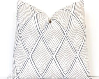 Linen Rhombus decorative Designer Pillow Cover Accent Throw Cushion geometric modern lattice diamonds beige cream neutral grey gray tan