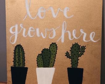 Love Grows Here shelf decor