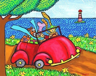 Road Trip red volkswagen bug car cat  -  Shelagh Duffett Print