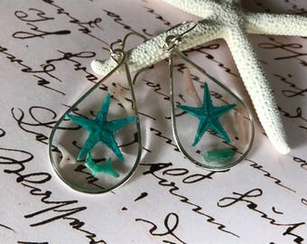 Turquoise Starfish and Coral Chip Earrings - Clear Resin Earrings - Beach Earrings