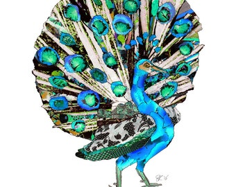 illustrated peacock postcard, art card peacock, art postcard,  colorful peacock print, animal greetings card -Eco Friendly Stationery